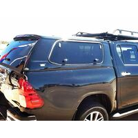 MEAN MOTHER FIBERGLASS CANOPY WITH C/LOCK - TOYOTA HILUX A DECK 2015 - ON (SLIDE/POP)