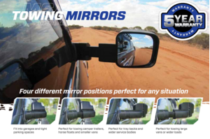MSA Electric Towing Mirrors Black - Heated, No Indicators to suit Ford Ranger 2012-Current