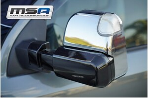 MSA Electric Towing Mirrors Chrome - No Indicators to suit Ford Everest 2015 to Current